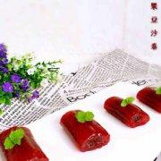 火龙果西米豆沙卷的做法