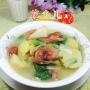 小白菜腊鸡腿煮土豆的做法